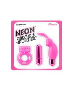 Neon Vibrating Couples Kit - Pink