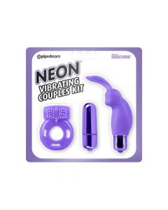 Neon Vibrating Couples Kit - Purple