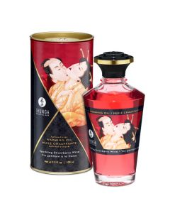 Shunga Warming Massage Oil - Strawberry